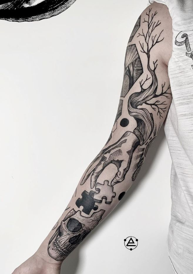 Awesome Black And Gray Sleeve Tattoo