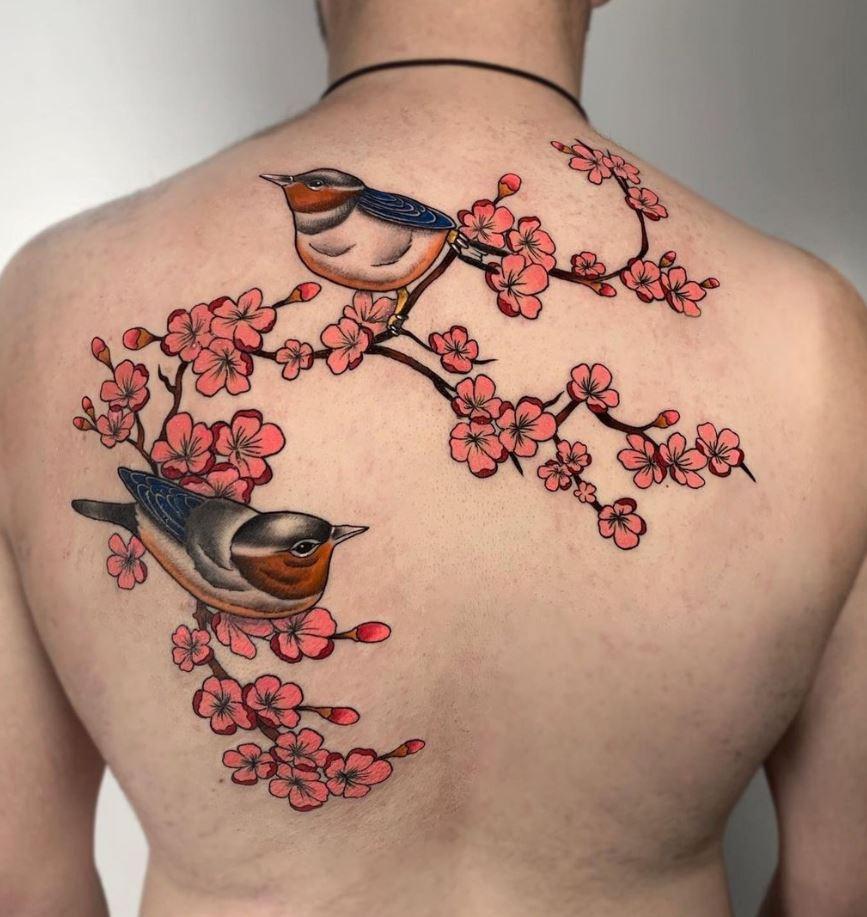 Birds On Cherry Blossoms Tattoo