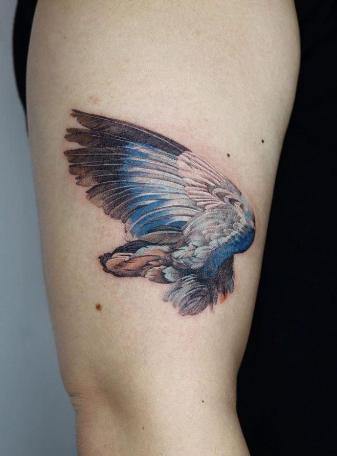 Blue Wing Tattoo
