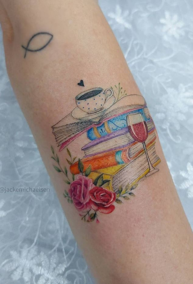 Colorful Books Tattoo