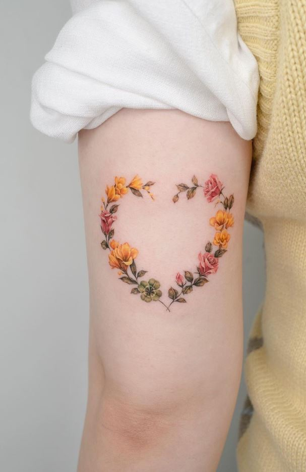 Heart Flowers Tattoo