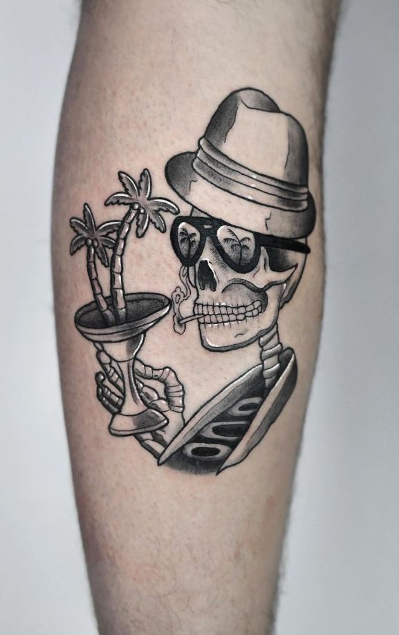 Partying Skull Tattoo