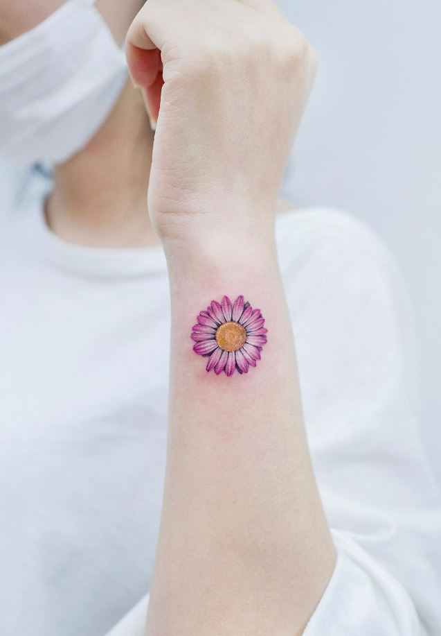 Pink Daisy Tattoo