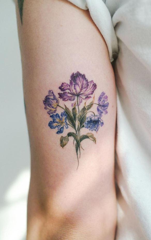 Purple Flowers Tattoo