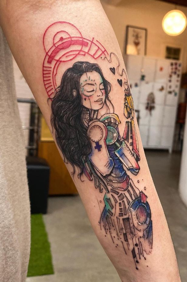Tech Girl Tattoo