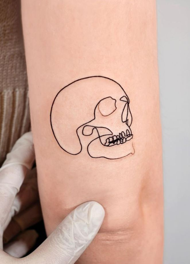 Single Line Skull Tattoo