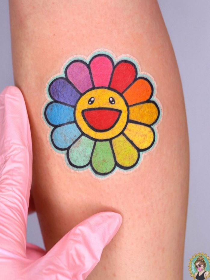 Rainbow Flower Tattoo