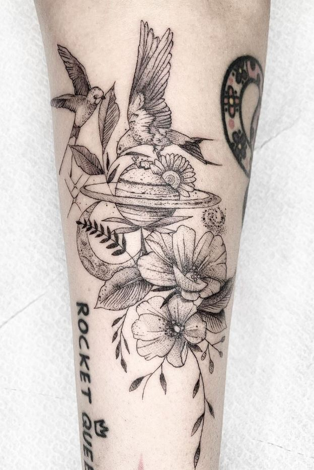 Space Flowers Tattoo